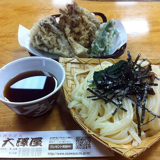 水沢うどん 大澤屋 ざるうどんとまいたけの天ぷら